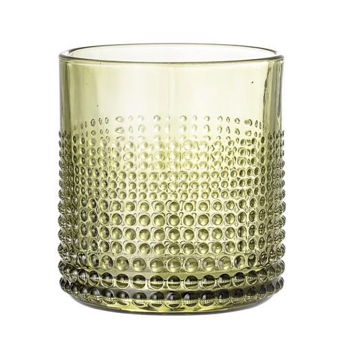 Image of   Bloomingville drikkeglas i grønt glas med mønster