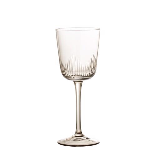 Image of   Bloomingville hvidvinsglas på fod i brun glas med mønster