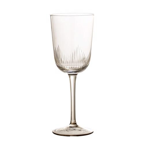 Image of   Bloomingville rødvinsglas på fod i brunt glas med mønster
