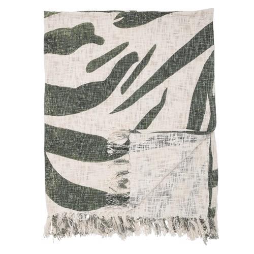 Image of   Bloomingville tæppe, plaid i grøn og hvid