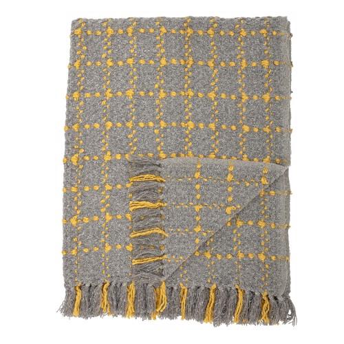 Bloomingville tæppe plaid i grå og gul.