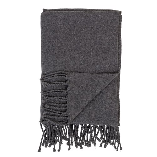 Image of   Bloomingville tæppe, plaid i uld, mørkegrå