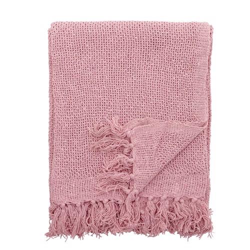 Bloomingville tæppe plaid i rosa