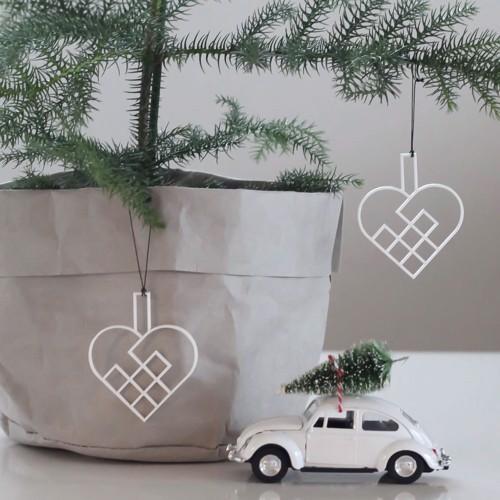 Felius Design Julepynt julehjerter flettet hvid