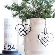 Felius Design Julepynt julehjerte flettet sort