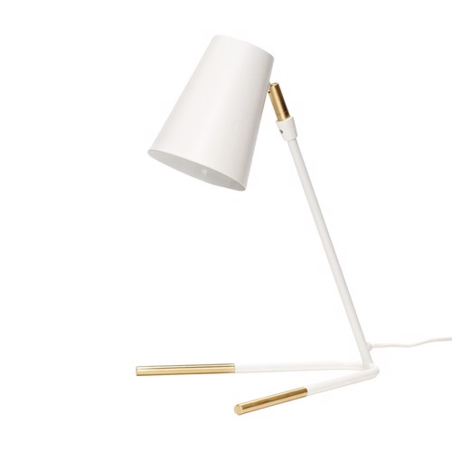 Image of   Hübsch bordlampe hvid metal messing