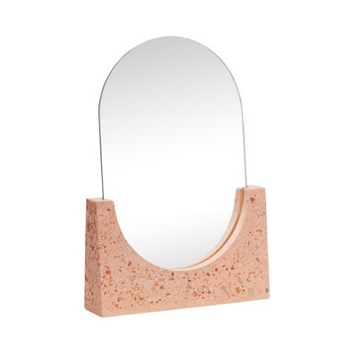 Hübsch bordspejl terrazzo Rød