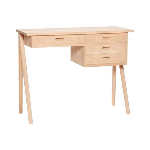Hübsch Skrivebord i egetræ med 4 skuffer