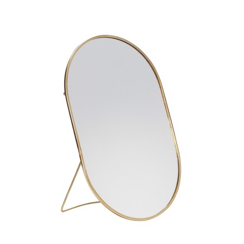 Hübsch bordspejl oval Messing