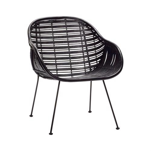 Billede af Hübsch spisebordsstol sort rattan
