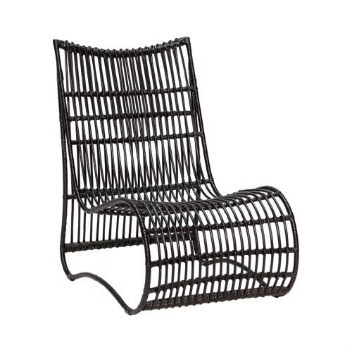 Image of   Hübsch lænestol i sort rattan