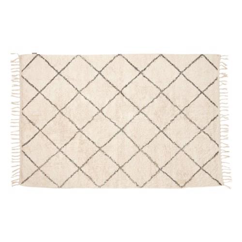 Billede af Hübsch tæppe i hvid og grå bomuld