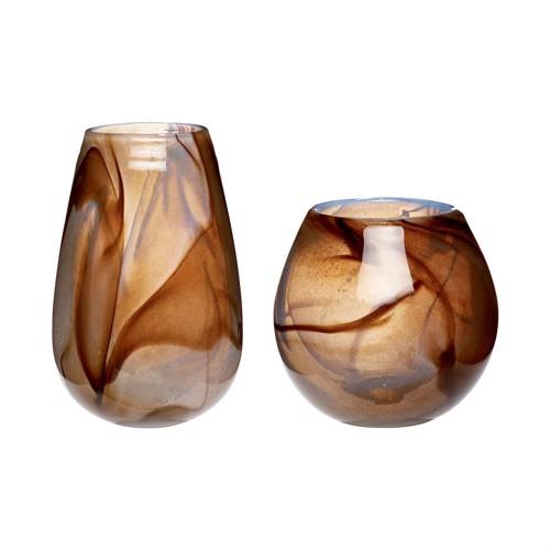 Image of   Hübsch brun og hvid meleret glasvaser sæt af 2 stk