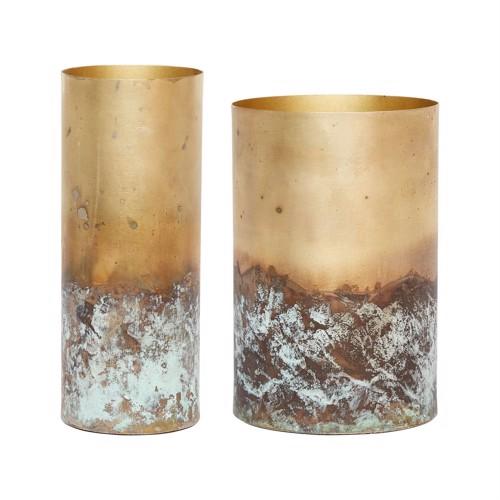 Image of   Hübsch vaser antique messing sæt af 2 stk