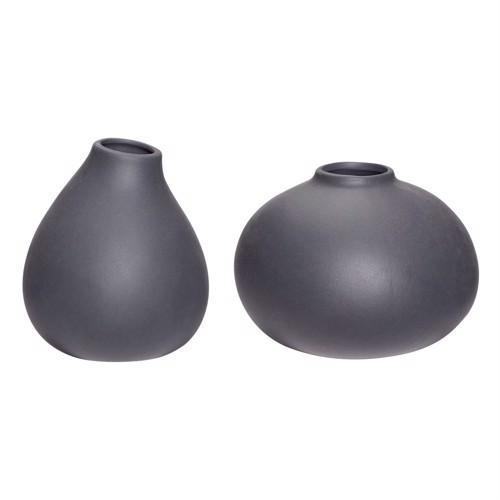 Image of   Hübsch keramik vaser sæt af 2 stk. grå lav