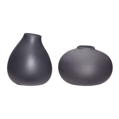 Image of   Hübsch keramik vaser sæt af 2 stk grå høj