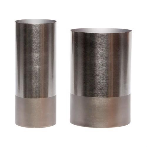 Billede af Hübsch vaser grå metal sæt af 2 stk