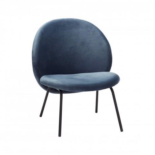 Hübsch Loungestol Sort/blå velour