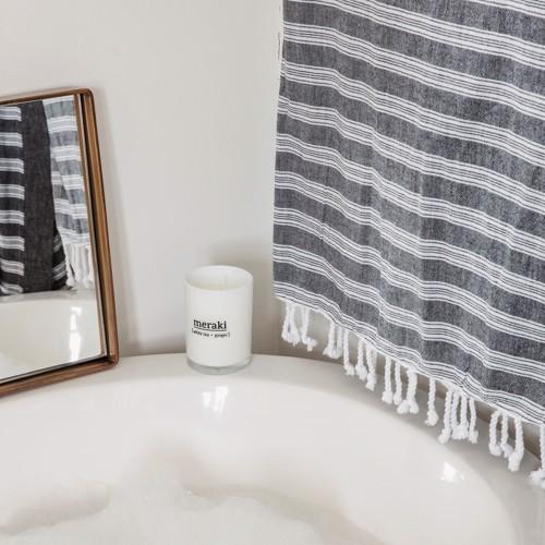 Image of   Meraki Håndklæde Hammam Sort med hvid