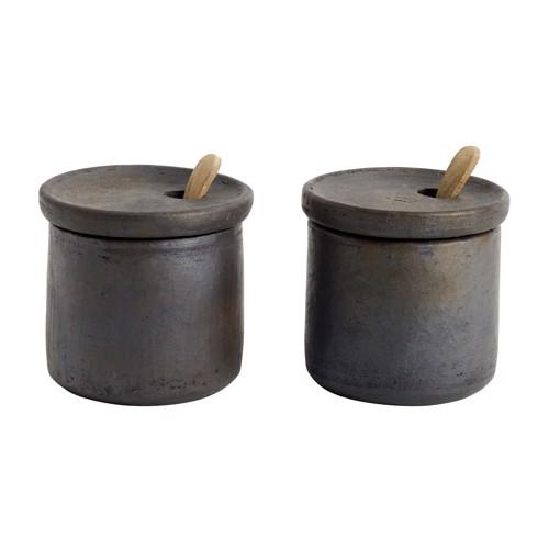 Muubs Salt og peber sæt med låg Hazel i terracotta