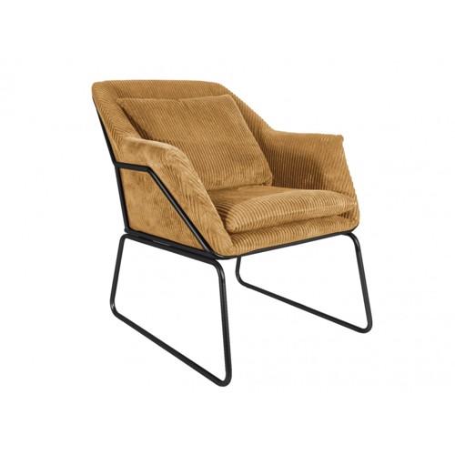 Image of   Present Time Glam lænestol i lysebrun fløjl