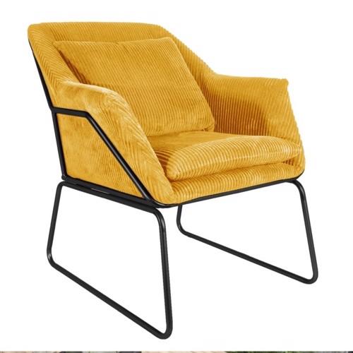 Present Time Glam lænestol i gul fløjl
