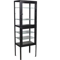 Trademark living vitrine cabinet sort metal