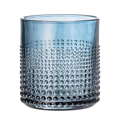 Image of   Bloomingville drikkeglas i blåt glas med mønster