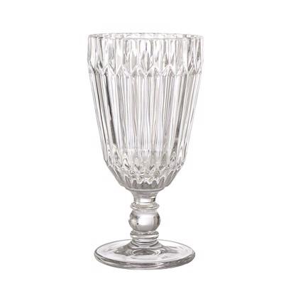 Billede af Bloomingville vinglas på fod i klar glas med mønster