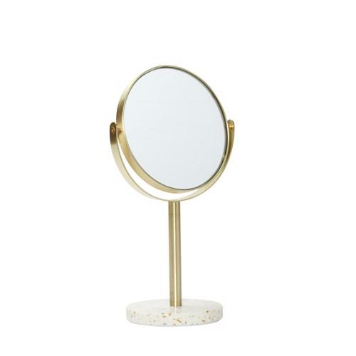 Hübsch bordspejl i terrazzo og metal